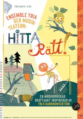 Barnteater Hitta rätt!, affisch, illustration Kati Mets, i smarbete med Ekströmform