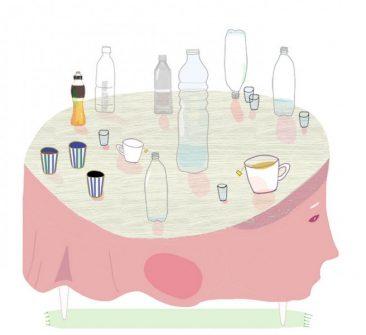 Illustration; drick inte för mycket av Kati Mets för Tätprojektet