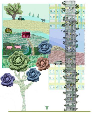 illustration av Kati Mets, Hållbara hem, för Arkitekten