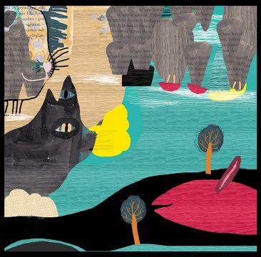 Katt bland moln, eget projekt av Kati Mets, skisser