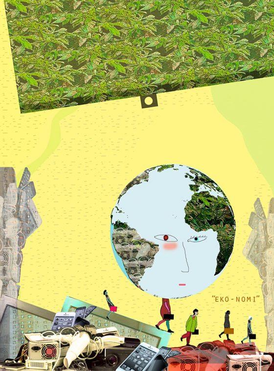 Illustration av Kati Mets för Grus och Guld. Scitzofren ekonomi
